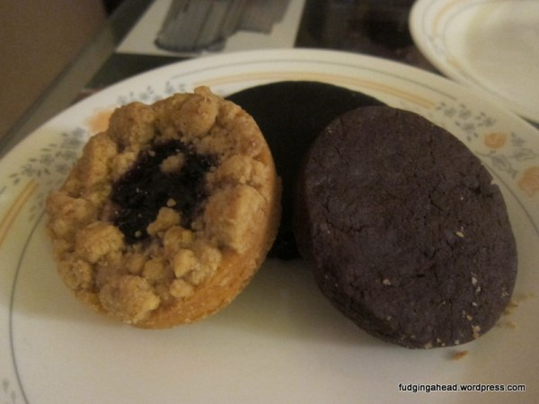 Jammer on the left (blueberry with vanilla streusel), Chocolate Chocolate on the right, TKO from Bouchon in the back (an Oreo cookie, done better)