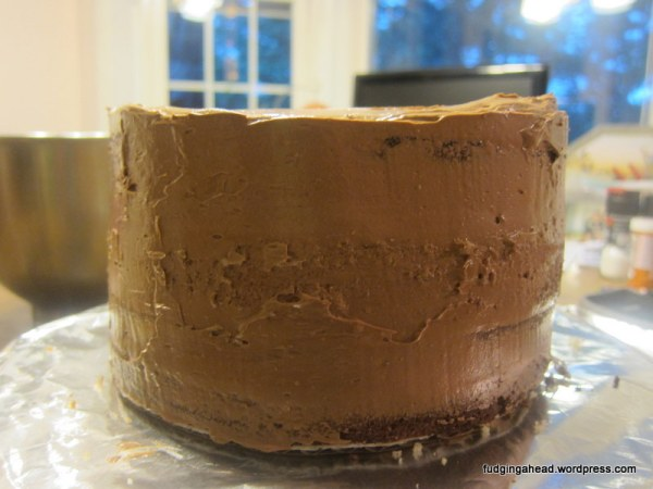 """My dad got to learn what a """"crumb coat"""" does."""