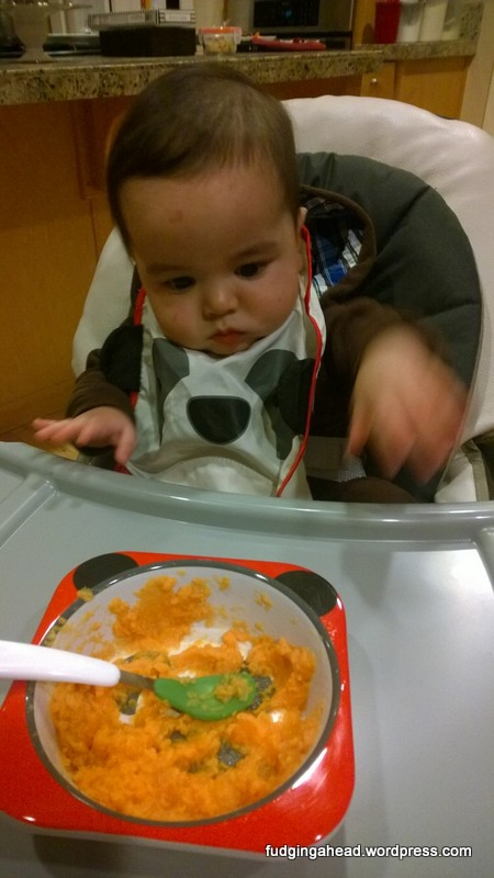 He was demanding more food NOW! Hahaha.